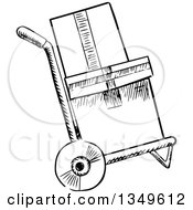 Clipart Of A Black And White Sketched Dolly Hand Truck With Boxes Royalty Free Vector Illustration