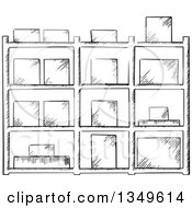 Clipart Of A Black And White Sketched Warehouse Rack With Boxes Royalty Free Vector Illustration