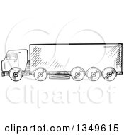Clipart Of A Black And White Sketched Big Rig Truck Royalty Free Vector Illustration