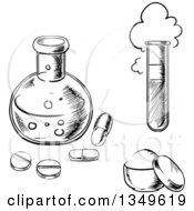 Clipart Of A Black And White Sketched Science Laboratory Flask With Pills A Test Tube And Container Of Perfume Or Powder Royalty Free Vector Illustration by Vector Tradition SM