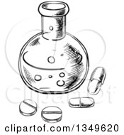 Clipart Of A Black And White Sketched Science Laboratory Flask With Pills Royalty Free Vector Illustration