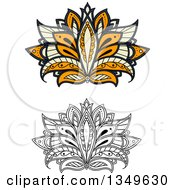 Clipart Of Beautiful Ornate Orange Pastel Yellow And Blue And Black And White Henna Lotus Flowers Royalty Free Vector Illustration