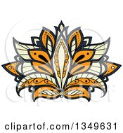 Clipart Of A Beautiful Ornate Orange Pastel Yellow And Blue Henna Lotus Flower Royalty Free Vector Illustration