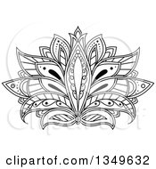 Clipart Of A Beautiful Ornate Black And White Henna Lotus Flower Royalty Free Vector Illustration