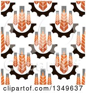 Clipart Of A Seamless Background Pattern Of Gradient Wheat And Gears 4 Royalty Free Vector Illustration