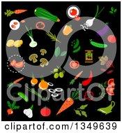 Clipart Of Flat Design Vegetables On Dark Blue Royalty Free Vector Illustration