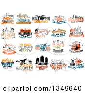 Clipart Of Text And Halloween Designs Royalty Free Vector Illustration