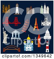 Clipart Of Flat Design World Landmarks With The Statue Of Liberty Eiffel And Pisa Towers Big Ben Ancient Temples Orthodox Church USA Capitol Abstract Skyscrapers Lighthouses And Bridges Royalty Free Vector Illustration by Vector Tradition SM