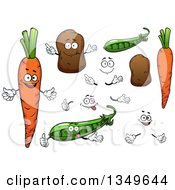 Clipart Of Cartoon Faces Hands Carrots Potatoes And Peas Royalty Free Vector Illustration