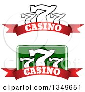 Clipart Of Triple Lucky Sevens Over Casino Text Banners Royalty Free Vector Illustration
