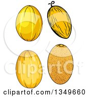 Clipart Of Cartoon Canary And Cantaloupe Melons Royalty Free Vector Illustration