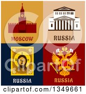 Clipart Of Moscow And Russia Designs With Text Royalty Free Vector Illustration by Vector Tradition SM