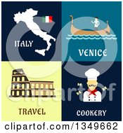 Clipart Of Flat Design Italy Map Venice Gondola Coliseum And Chef Designs With Text Royalty Free Vector Illustration