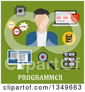 Clipart Of A Flat Design Male Programmer A Laptop With Antivirus Desktop Computer Microchip Data Base And Server Virus Magnifying Glass And Gears With Php Css Html Royalty Free Vector Illustration by Vector Tradition SM