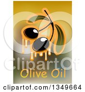 Clipart Of Dripping Olives And Text Over Blur 3 Royalty Free Vector Illustration