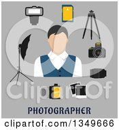 Clipart Of A Flat Design Male Photographer Avatar With A Digital Camera Lens Tripod Memory Card Camera Film Instant Films Flash And Lightning Umbrella Over Text On Gray Royalty Free Vector Illustration