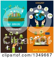 Clipart Of Flat Design Go Green Ecology Save Energy And Environment Designs Royalty Free Vector Illustration