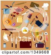 Clipart Of Flat Design Kitchen Utensils On Tan Royalty Free Vector Illustration