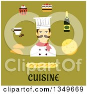 Clipart Of A Flat Design French Chef With Food Icons Over Text On Green Royalty Free Vector Illustration