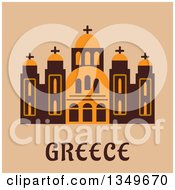 Clipart Of A Flat Design Building Of Saint Andrew Cathedral Over Greece Text On Beige Royalty Free Vector Illustration by Vector Tradition SM