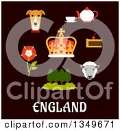 Clipart Of A Flat Design English Heraldic Tudor Rose Park Landscape Royal Dog Tea Set Pie Sheep And Emperor Crown Over Text On Blue Royalty Free Vector Illustration by Vector Tradition SM