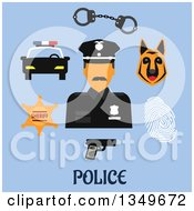 Clipart Of A Flat Design Male Police Officer With Handcuffs Gun Police Car Sheriff Star Badge Fingerprint And Dog Royalty Free Vector Illustration by Vector Tradition SM