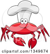 Clipart Of A Cartoon Happy Red Crab Chef Wearing A Toque Royalty Free Vector Illustration by Seamartini Graphics