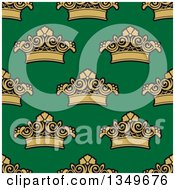 Clipart Of A Seamless Pattern Background Of Gold Crowns On Green Royalty Free Vector Illustration