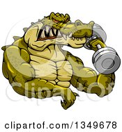 Cartoon Tough Muscular Crocodile Bodybuilder Doing Bicep Curls With A Dumbbell