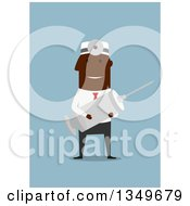 Clipart Of A Flat Design Happy Black Male Doctor Holding A Giant Syringe On Blue Royalty Free Vector Illustration