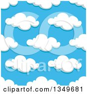 Clipart Of A Seamless Pattern Background Of Puffy Clouds In A Blue Sky 10 Royalty Free Vector Illustration by Vector Tradition SM