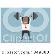 Clipart Of A Flat Design Black Businessman Lifting A Barbell Over Blue Royalty Free Vector Illustration