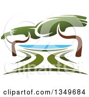 Clipart Of A Lake Front Park With Trees Royalty Free Vector Illustration by Vector Tradition SM