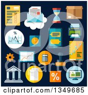 Flat Design Business And Financial Charts With A Desktop Computer Report Financial Graphs Charts Smartphone Letter And Delivery Box Bank Rubber Stamp Calculator Wall Clock Hourglass Printer Percent And Gear