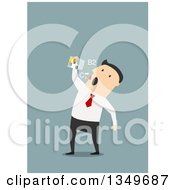 Clipart Of A Flat Design White Businessman Taking Vitamins Or Drugs Over Blue Royalty Free Vector Illustration by Vector Tradition SM