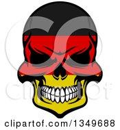 Poster, Art Print Of Grinning Evil Skull In German Flag Colors