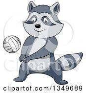 Cartoon Raccoon Playing Volleyball