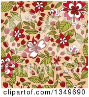 Clipart Of A Seamless Background Pattern Of Doodled Raspberry Blossoms Plants And Berries Over Tan Royalty Free Vector Illustration