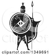 Clipart Of A Black And White Woodcut Caped Spartan Soldier Holding A Spear And Shield Royalty Free Vector Illustration