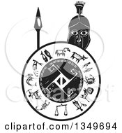 Clipart Of A Black And White Woodcut Spartan Soldier Holding A Spear And Shield Royalty Free Vector Illustration
