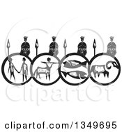 Clipart Of A Black And White Woodcut Spartan Soldier Phalanx With Spears And Shields Royalty Free Vector Illustration