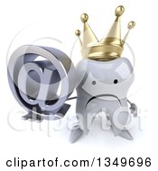 Clipart Of A 3d Unhappy Crowned Tooth Character Holding Up An Email Arobase At Symbol Royalty Free Illustration