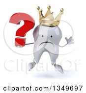 Clipart Of A 3d Unhappy Crowned Tooth Character Jumping And Holding A Question Mark Royalty Free Illustration