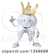 Clipart Of A 3d Happy Crowned Tooth Character Holding Up A Finger Royalty Free Illustration