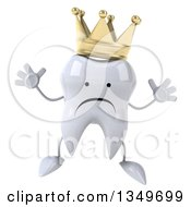 Clipart Of A 3d Unhappy Crowned Tooth Character Jumping Royalty Free Illustration