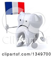 Clipart Of A 3d Unhappy Tooth Character Walking To The Left And Holding A French Flag Royalty Free Illustration