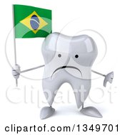Clipart Of A 3d Unhappy Tooth Character Giving A Thumb Down And Holding A Brazilian Flag Royalty Free Illustration