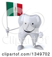 Clipart Of A 3d Happy Tooth Character Holding And Pointing To A Mexican Flag Royalty Free Illustration