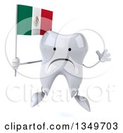 Clipart Of A 3d Unhappy Tooth Character Jumping And Holding A Mexican Flag Royalty Free Illustration