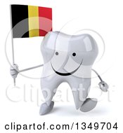 Clipart Of A 3d Happy Tooth Character Walking And Holding A Belgian Flag Royalty Free Illustration